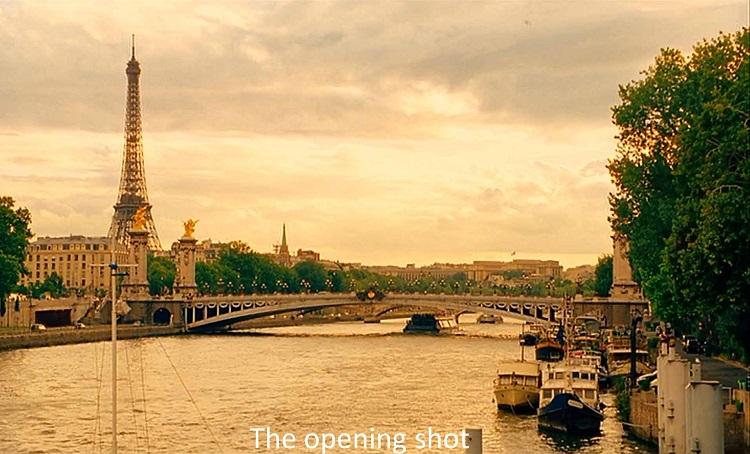 نمای آغازین فیلم و نمایی باز از پاریس