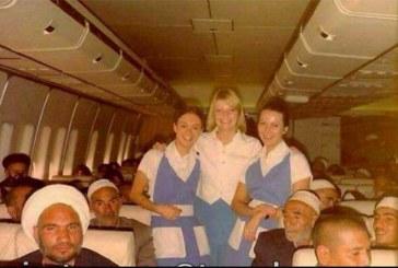 عکس قدیمی و جالب حجاج با مهمانداران هواپیمای آمریکایی