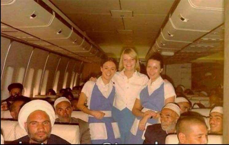 تصویری قدیمی از سفر حجاج با هواپیمای آمریکایی